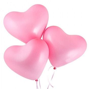 Облако шаров розовых сердечек