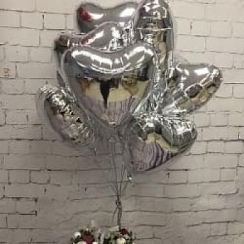 Сердца фольгированные серебро металлик