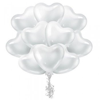 Облако белых шариков сердец