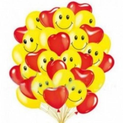 Воздушные шары Смайлики и Сердечки