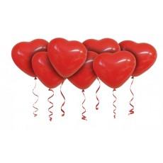 Сердечки красные с гелием под потолок