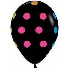 Воздушные шары Точки черный неон