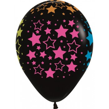 Воздушные шары Звезды черные неон